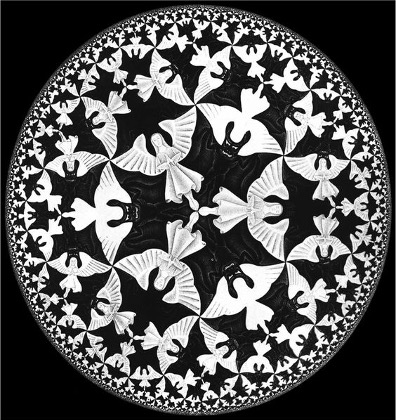 M.C. Escher, Circle Limit IV (1960) The angels and devils (Heaven and Hell) motif was also the only one that Escher realized in each of the classical geometries: Euclidean, spherical, and hyperbolic.